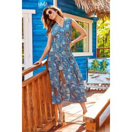 Robe Longue Sans Manches, Olimpia 100% Polyester, Iconique IC20-115-BLU