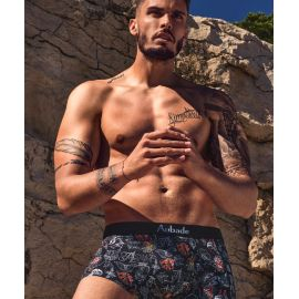 Boxer Trunk Coton Modal, Black Art, Aubade Men XB79T-BLAT