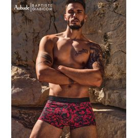 Boxer Trunk Coton Modal, Red Ornament , Aubade Men XB79T-REOR
