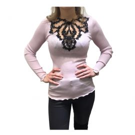 Top Long Sleeves Pleated Tulle Embroidered Tatoo 70% Wool-30% Silk, Oscalito 5462-632