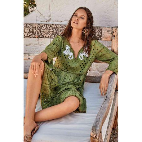 Robe Courtes Manches Longues 100% Coton, Hawaii, David DB21-073