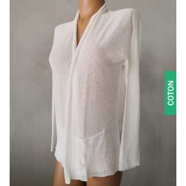 Cardigan en tricot de coton bouclé, 100% Coton Mako, Oscalito 5782-010