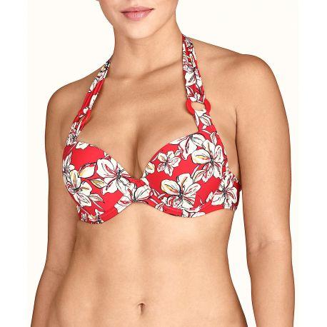Moulded push-up bikini top, Florale - Sanguine, Aubade TU08-SANF