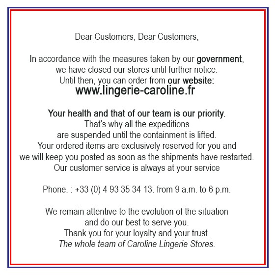 Exceptional closure of boutique lingerie - Corona virus